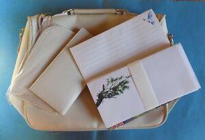 Sac à main blanc Afibel + carnet de correspondance et enveloppes