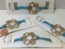 Golden Hammered Heart & Peace Symbols Blue Corded Bracelet NEW  4pcs #E85