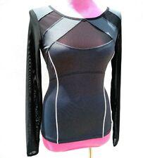 BLANC NOIR Womens LEAGUE COLORBLOCK PERFORMANCE LongSleeve Top Charcoal Black XS