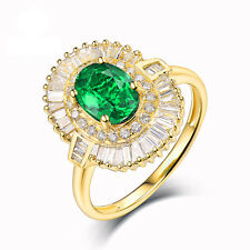 Solid 14Kt Yellow Gold Emerald Diamonds Vintage Vintage Engagement  Ring