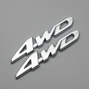 2x Car Body Metal 4WD Off-Road Emblem Chrome 4 Wheel Drive Rear Trunk Logo Badge