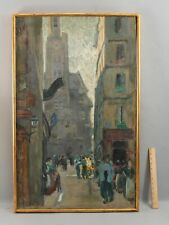 Large MERIO AMEGLIO French Impressionist Street Scene St. Germain Oil Painting