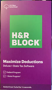 H&R BLOCK Tax Software Deluxe + State 2020 Purple Box - PC/Mac  (Free Shipping)