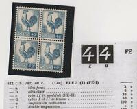 VARIETE - N°632 (TYPE I et TYPE II se tenant (4 refait ) bloc de 4- neuf**-Luxe