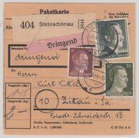 24836) STEINSCHÖNAU Sudetenland Dringend-Paketkarte 1944 nach Zittau Sachsen