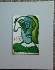 """Vintage 60s Miniature Book Plate '39 PICASSO Portrait Woman 8x10"""" Mat"""