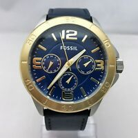 Brand New Fossil BQ2265 Chronograph Golden Blue Leather Strap Men Watch