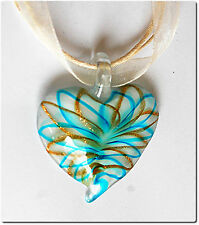 Pendentif cœur  verre style murano bijou cadeau amour mode fêtes fantaisie.