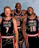 Michael Jordan Magic Johnson Larry Bird Team USA Signed Photo Autograph Reprint