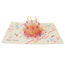 Happy Birthday Crystal Laser Cut Cake Pop Up Greeting Card