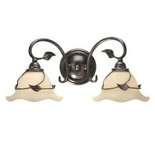new 2 light vine leaf bathroom vanity lighting fixture oil black beige glass