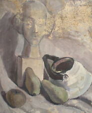 Vintage oil painting still life with sculpture, fruits and teapot