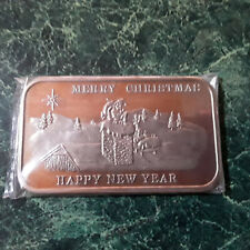 Vintage 1 oz .999 Silver Bar Merry Christmas Happy New Year #3823 SHIPS FREE!
