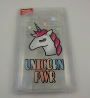 fits iPhone X or XS phone case Unicorn power stars clear pink white