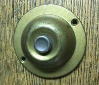Vintage Mid Century Modern Pressed Brass Doorbell Button