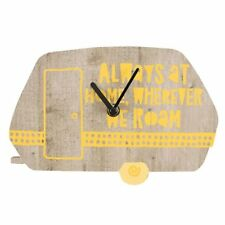 22.5cm Always At Home Wherever We Roam' Caravan Campervan Wall Clock Wooden Yell