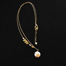Pearls Pendent Chain Charm Jewelry Gift Women 14K Gold Plated Necklace Nature