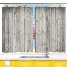 "Gray Striped Wooden Board Kitchen Curtains 2Panel Set Decor Window Drapes 55x39"""