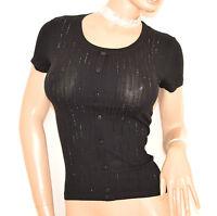 MAGLIA donna maglietta NERA sottogiacca strass cotone mezza manica corta E165