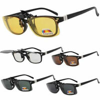 New Polarized 100% UV400 CLIP ON FLIP UP 4 Colors Rectangular Sunglasses UK Hot