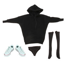 1/6 Female Body Hoodie Sweatshirt Stocking Sneakers for 12'' Hot Toys Figure