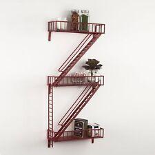 Design Ideas Fire Escape Shelving, Red Wall Shelves Modern Decor Display Steel