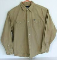 Wrangler Mens XL Khaki Tan Brushpopper Long Sleeve Pearl Snap Button Front Shirt