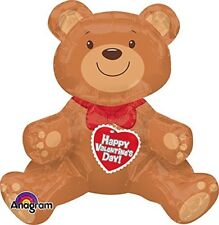 CUTE SITTING BALLOON SUPERSHAPE - BEAR HAPPY VALENTINES DAY  - AIR FILL ONLY