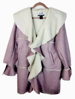 The Look By Randolph Duke Womens Coat Faux Suede Shearling  Sz Med Pink/Mauve