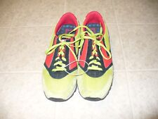 Brooks Size 13D green Coral & black suede & mesh men's running shoes