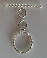 925 Sterling Silver Twisted Toggle Clasp (T Bar) 11mm