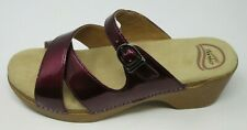 DANSKO WOMEN'S SELA CRINKLE PATENT LEATHER LILAC SANDALS CLOGS SZ: 42 US 11.5/12