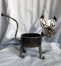 Junkyard Art Metal Cat Sculpture Plant Can Holder