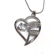 Allah Pendant Necklace Heart Islam Islamic Muslim Silver Colour Rhinestone Chain