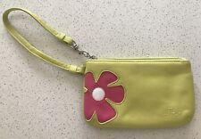 Cellini Women's Zipper Purse Wristlet Wallet In Green Leather Floral Pink Design