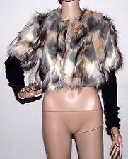 New $298 Plenty By Tracy Reese Cropped Faux Fur Bolero Shrug Jacket Knit P XS