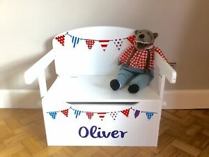 Kids Toy Box Boy And Desk Storage Seat +   Personalisation (blue Only)