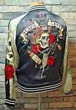 LIMITED EDITION LUCKY 13 REVERSIBLE Embroidery JACKET BOMBER RIP DEATH GLORY
