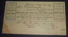 Original 1879 J. B. Fickett & Co., Portland, Maine Billhead Lead Paint Dealers
