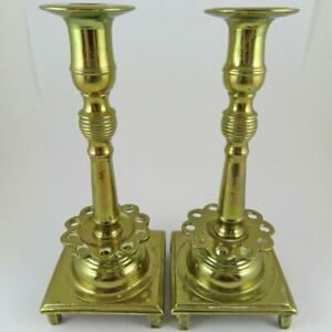 PAIR OF ANTIQUE 18TH CENTURY RUSSIAN JUDAICA BRASS COLUMNAR SABBATH CANDLESTICKS