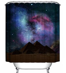 Galaxy Sky Mountains Shower Curtain Outer Space Stars Celestial Purple Nebula