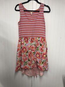 Matilda Jane Macaron Striped Floral Tank Dress Womens Size Med Pink Sleeveless