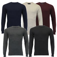Mens Knitted Jumper Threadbare Sweater Pullover Top Waffle Casual Winter Fashion