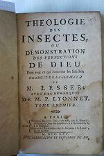 Livre Théologie des insectes traduit par LESSER Remarques de LYONNET 2Tomes 1745