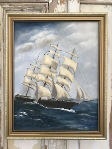 Old SHIP GALLEON Oil SEASCAPE Painting Picture ORIGINAL Signed Gold Framed