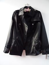 VINTAGE? ladies polyester lined edgy black trench style jacket/coat  XXS /teen