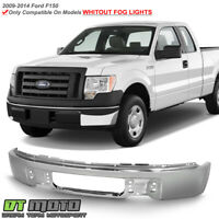 2009-2014 Ford F150 Pickup Chrome Steel Front Bumper Face Bar w/o Fog Light Hole