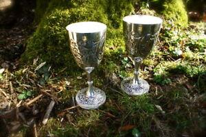 2 Trinkkelche als Silberbecher-stilvolle Weinkelche, Weinbecher-Paar versilbert