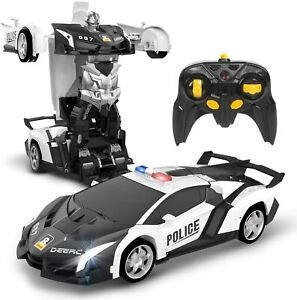 DEERC Remote Control Transform Police Toy Cars 360 Rotation RC Robot Gift Kids