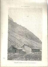 1880 ORVIEILLE VALSAVARENCHE vedute Valle d'Aosta litografia alpinismo